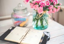 Flowers, Planner, Desk and Vintage Office